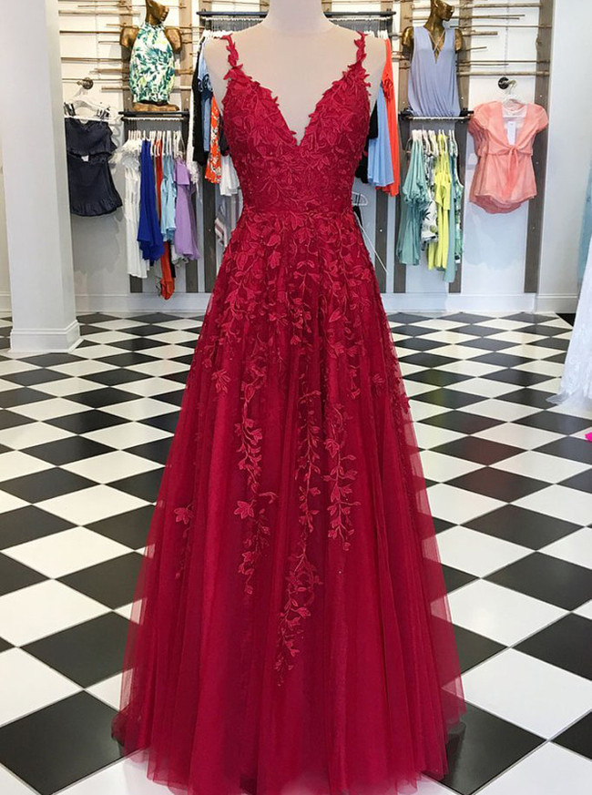 Burgundy Evening Dresses with Appliques,Elegant Prom Dress for Teens,11900