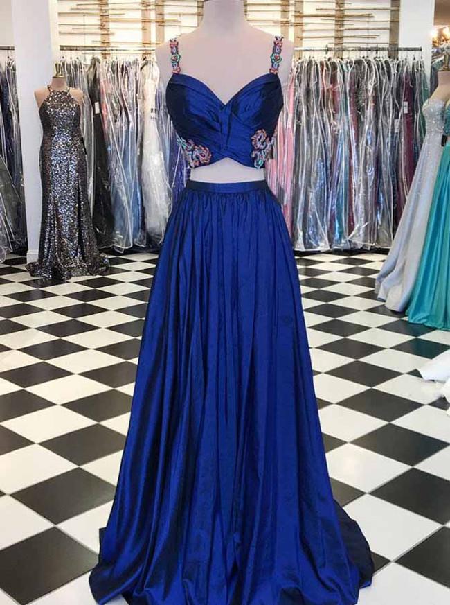 Two Piece Taffeta Prom Dresses,Modern Evening Dress,11902