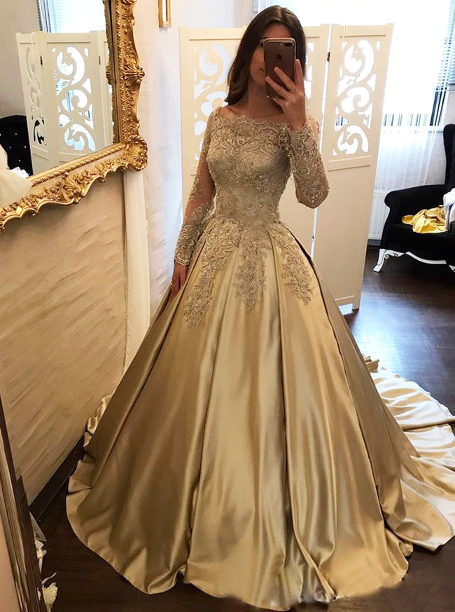 Gold Prom Gown with Sleeves,Off the Shoulder Prom Gowns,11904