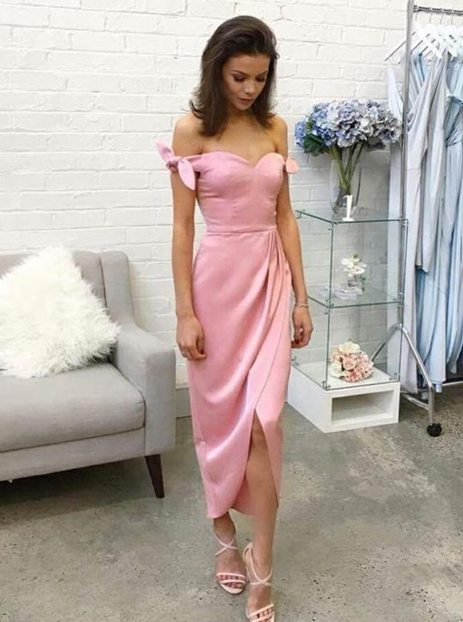 Pink Silk Like Satin Bridesmaid Dresses,High Low Prom Dress,11905