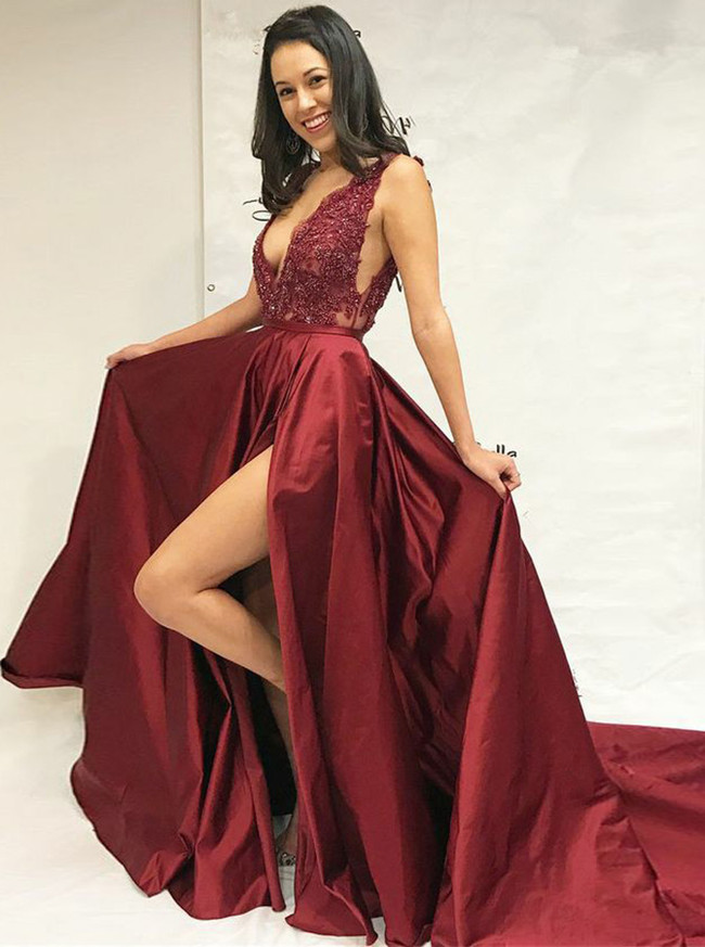 Burgundy Evening Dress with Slit,V-neck Prom Dress,11906
