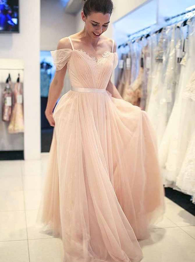 Champagne Prom Dresses for Teens,Tulle Graduation Dress,11907