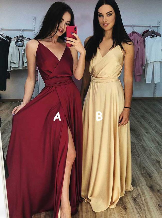 Silk Like Satin Bridesmaid Dresses with Slit,Simple Prom Dress,11910