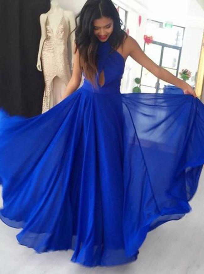 Royal Blue Chiffon Prom Dresses,Halter Prom Dress,11911
