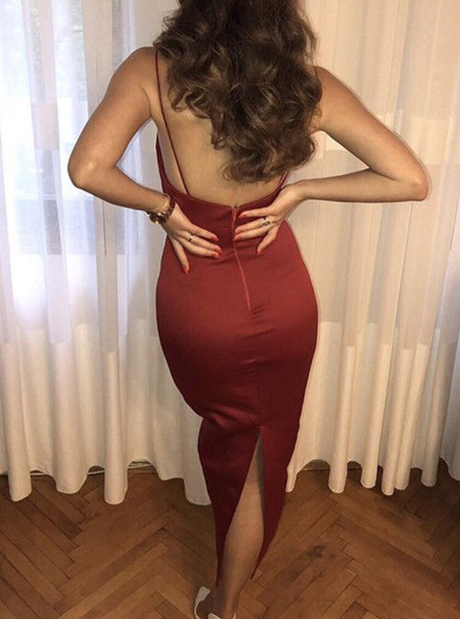 Fitted Elastic Satin Dresses with Straps,Ankle Length Simple Dress,11914