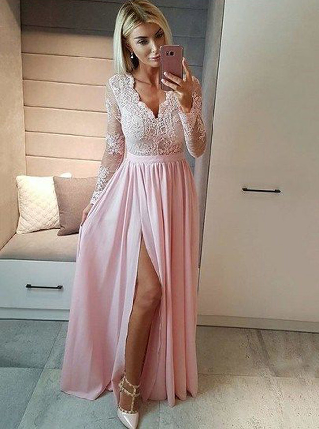 c0fe20e951b6 Modest Bridesmaid Dresses with Sleeves,Chiffon Prom Dress with Slit,11919  ...