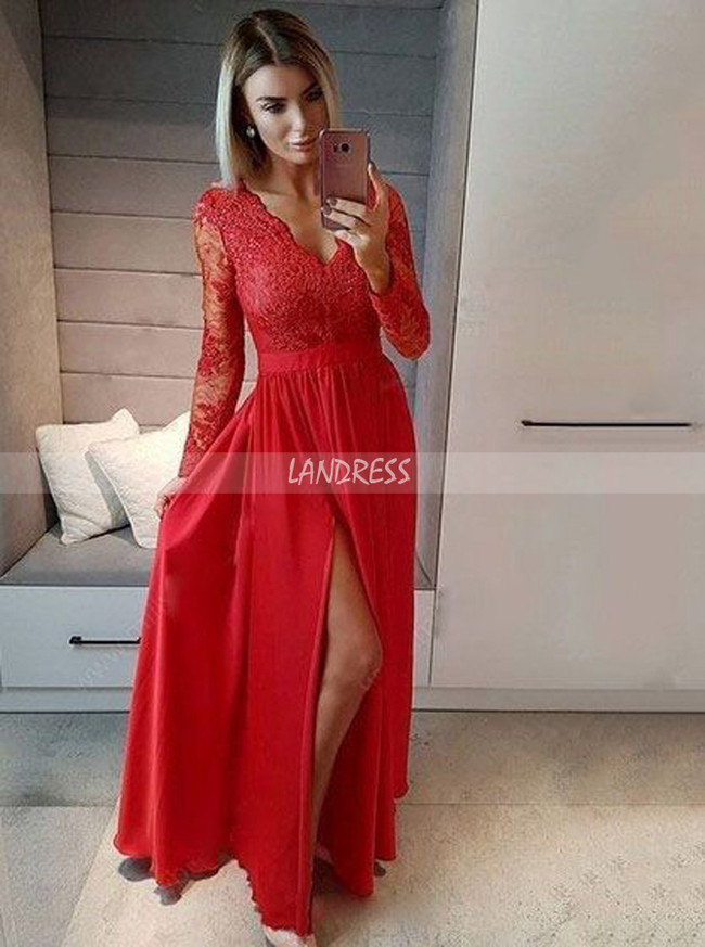 Modest Bridesmaid Dresses with Sleeves,Chiffon Prom Dress with Slit,11919