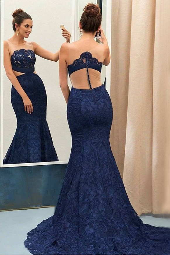 Dark Navy Lace Evening Dresses,Formal Mermaid Prom Dress,11922