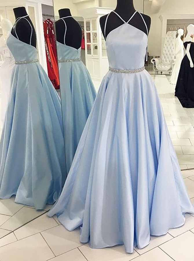 Modest SkyBlue Prom Dresses for Teens,A-line Satin Pageant Dress,11924