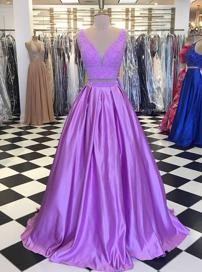 Two Piece Prom Dresses,Crystal Prom Dress for Teens,11925