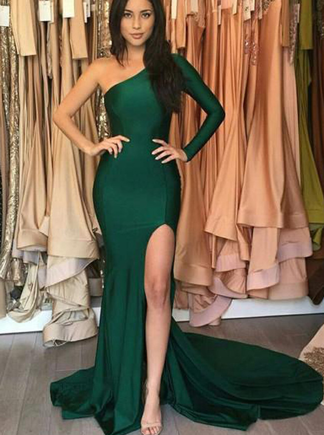 Dark Green Fitted Evening Dress with Slit,Asymmetrical Silk-like Satin Dress,11926