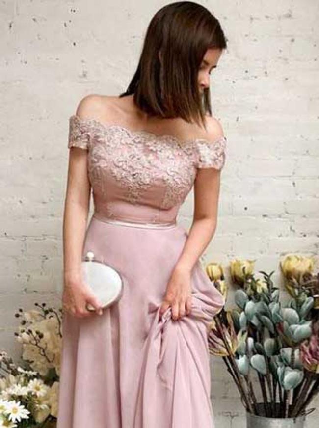 Elegant Chiffon Bridesmaid Dress,Long Off the Shoulder Prom Dress,11927