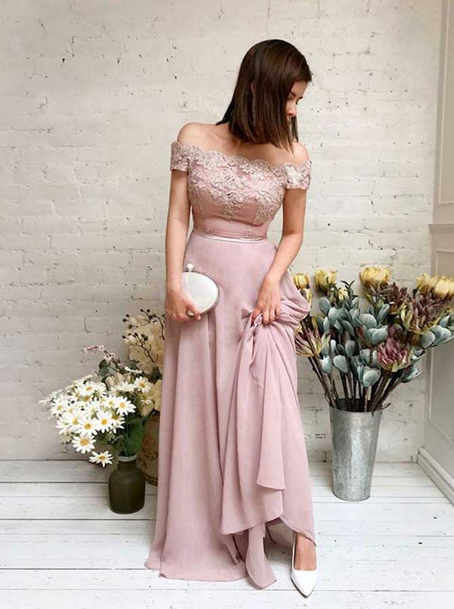 Elegant Chiffon Bridesmaid Dress,Long Off the Shoulder Prom Dress,11927