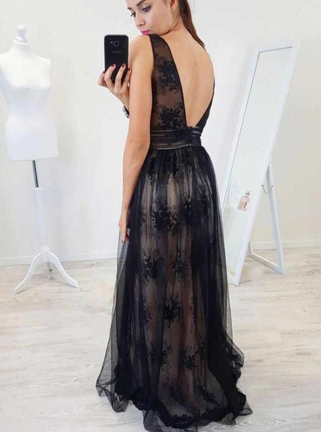 Lace Evening Dresses,Black Long Prom Dress,11929