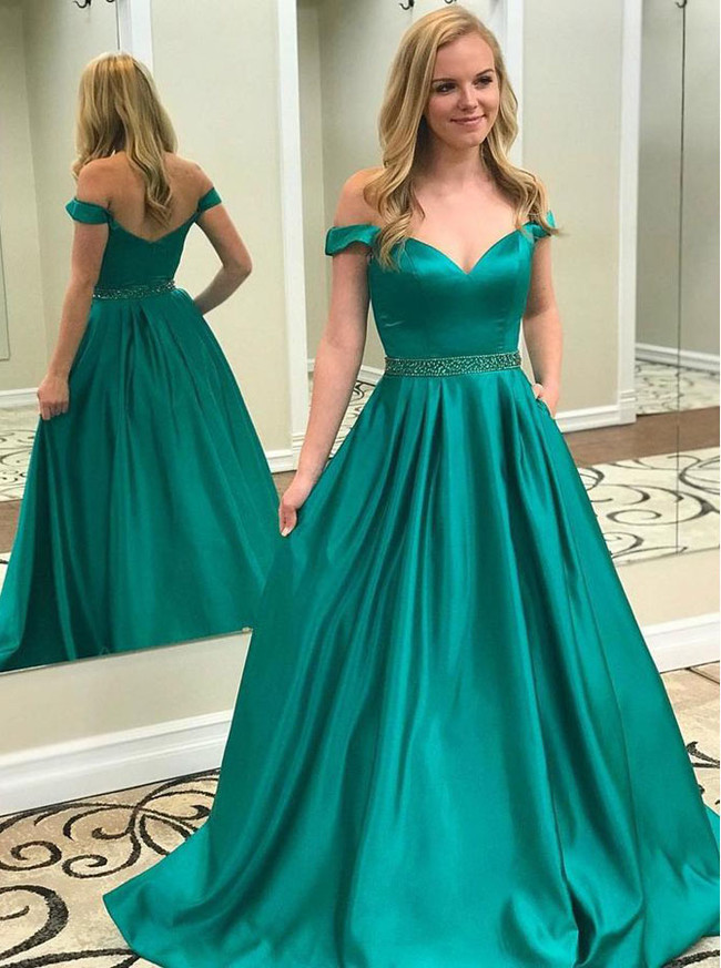 Turquoise A-line Prom Dress for Teens,Off the Shoulder Prom Dress,11931