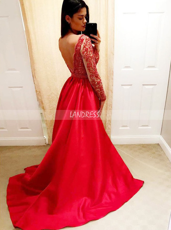 Red Beaded Prom Dresses with Sleeves,A-line Evening Dress,11934