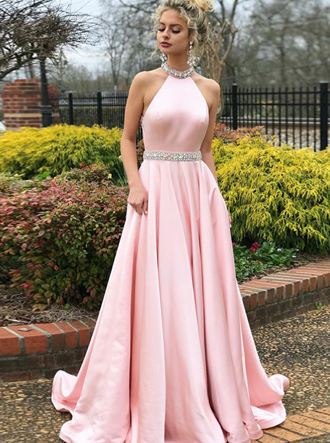 Halter Prom Dress,Backless A-line Evening Dress,11935