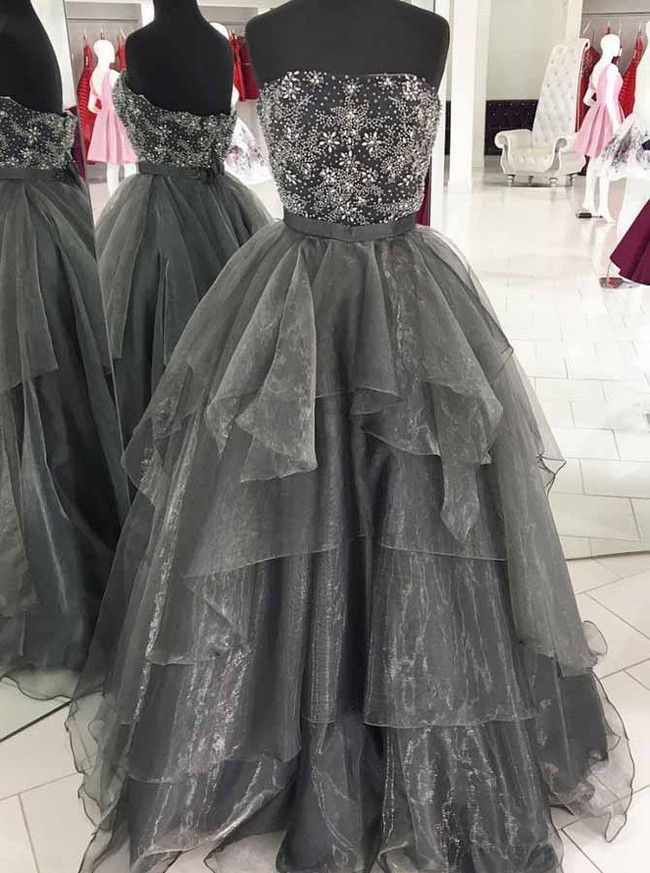 Organza Grey Prom Dresses,Strapless Prom Dress,11936