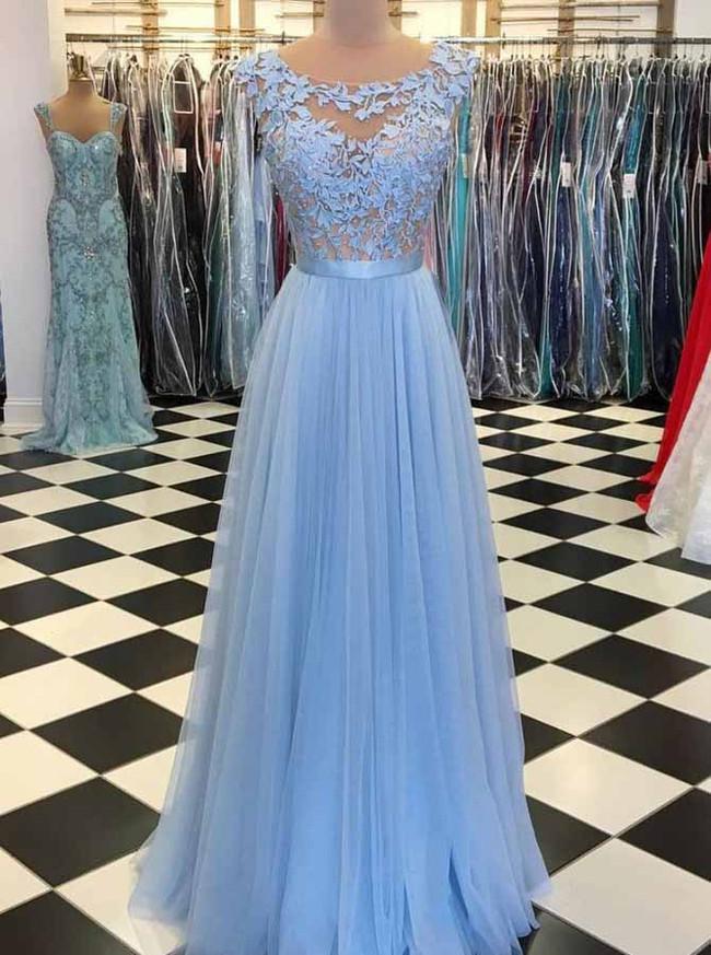 Fairytale Blue Prom Dresses,Elegant Long Evening Dress,11938