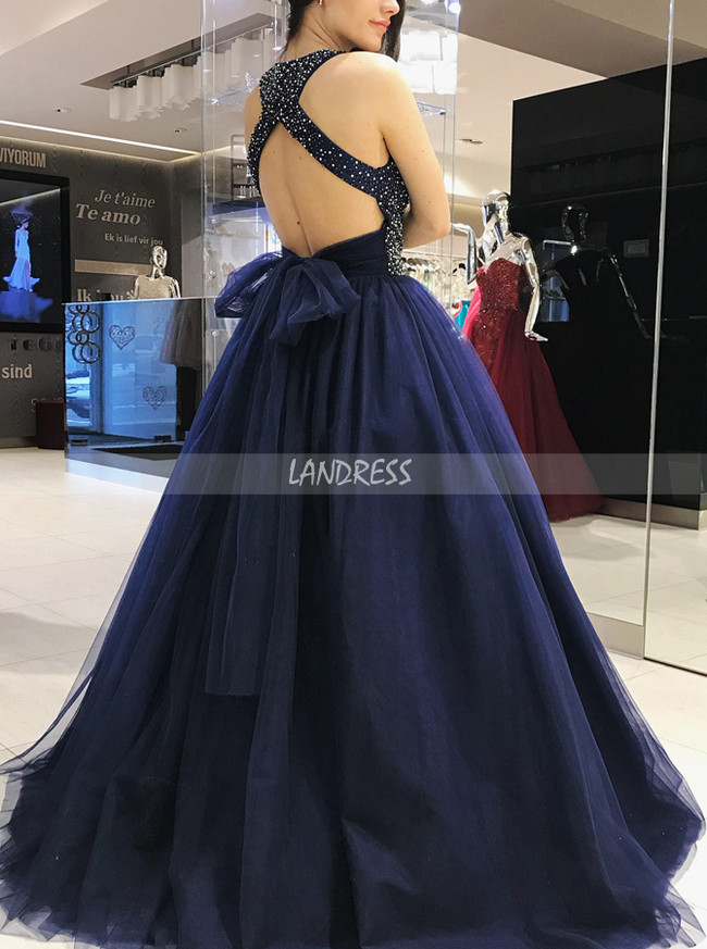 Dark Navy Ball Gown Prom Dresses,Crystal Tulle Prom Dress,11939