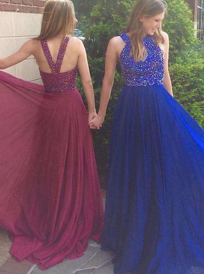 Long Chiffon Prom Dresses,Beaded Prom Dress for Teens,11940