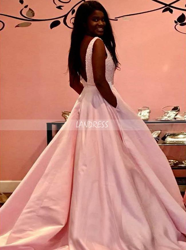 Pink Prom Dresses for Teens,Satin Long Evening Dress,11946