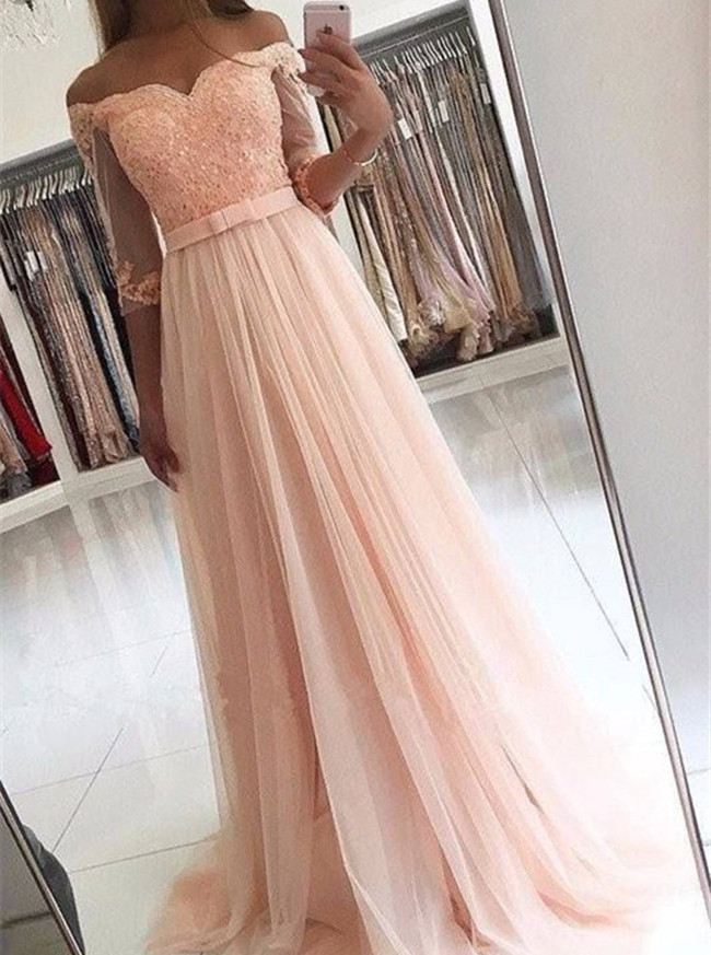 Peach Prom Dress with Sleeves,Off the Shoulder Evening Dress,11947