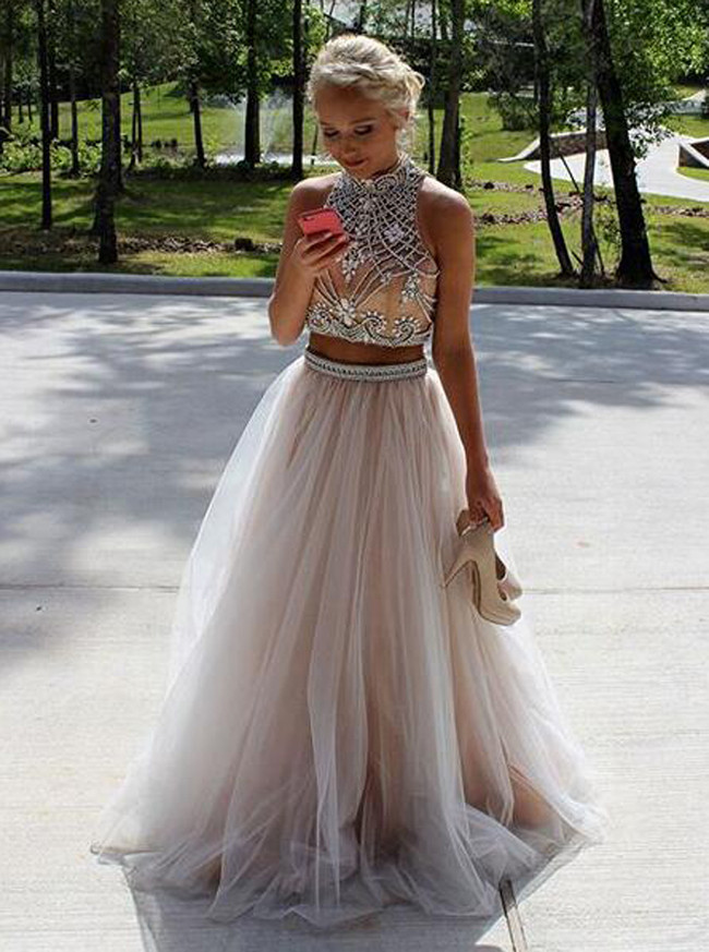 Champagne A-line Prom Dresses,Two Piece Tulle Prom Dress,11948