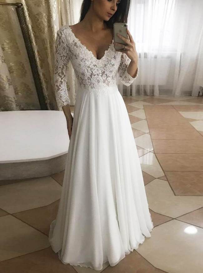 Long Chiffon Wedding Dresses with Sleeves,Beach Wedding Dress,11951