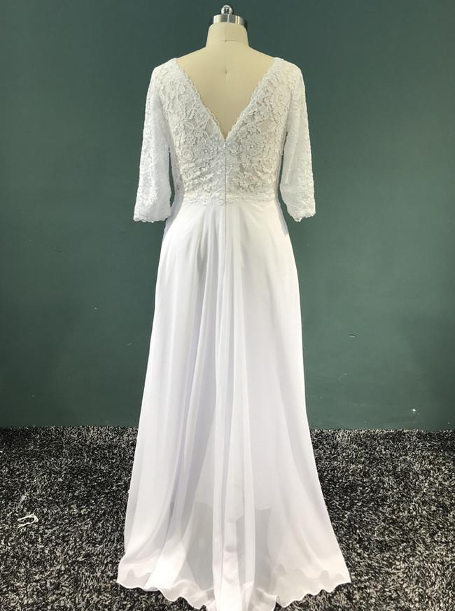 Long Chiffon Wedding Dresses with Sleeves,Beach Wedding Dress,11951