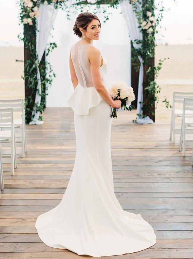 Elegant Wedding Dress,Illusion Mermaid Wedding Dress,11952