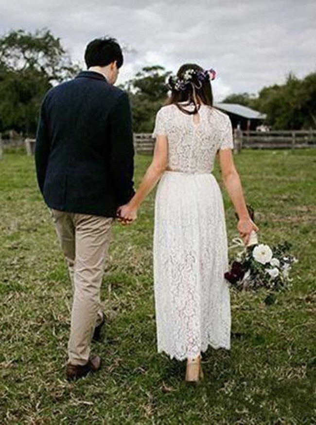Lace Two Piece Wedding Dress,Out Door Wedding Dress with Sleeves,11953