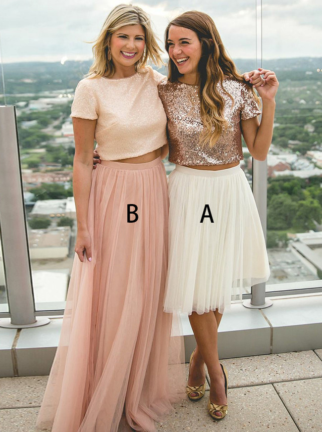 Two Piece Bridesmaid Dresses,Sequined Tulle Bridesmaid Dress,Mismatched Bridesmaid Dress,11956