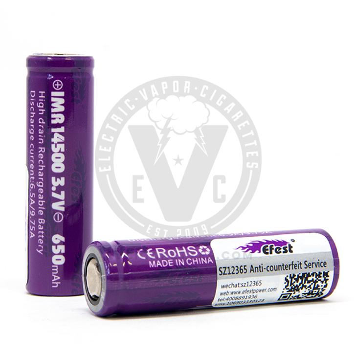 Efest Purple 14500 IMR 650mAh Flat Top Battery - 9.75A Pulse