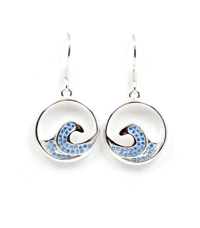 Blue Topaz Wave Earrings BT221 de675826fb