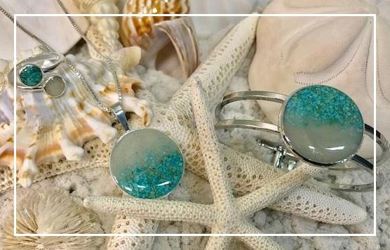Siesta Key Sand Pendant, Ring, Earrings