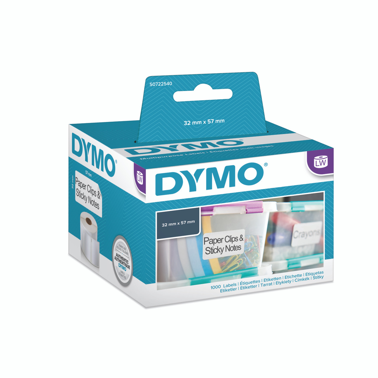 Genuine Dymo 11354-32mm x 57mm Multi Purpose Labels Black on White S0722540