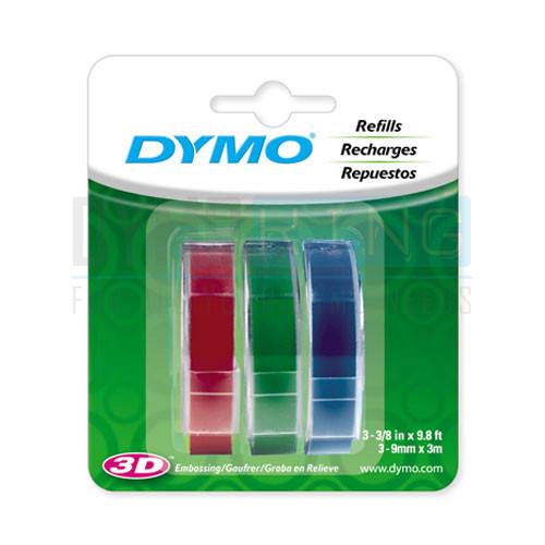 Dymo #1741671 Embossing Tape 9mmx3M Trio Colours 3Pk | DymoOnline