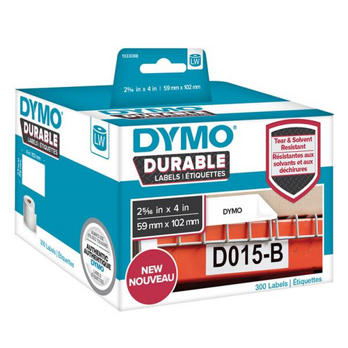 DYMO DURABLE LW450 LABEL SHIPPING WHITE 59MM X 102MM ROLL OF 300