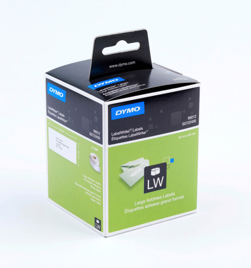 DYMO 99012 / S0722400 LABELWRITER LARGE ADDRESS WHITE PAPER LABELS 36 X 89MM