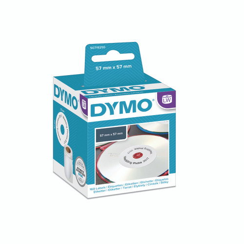 The new dymo packaging is now a blue/teal and white and no longer a black or green packaging.  These dymo labels are suitable for labelling CDs or labelling DVDs.