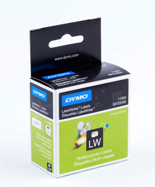 DYMO 11353 / S0722530 LABELWRITER MULTI PURPOSE 2 UP LABELS 13 X 25MM