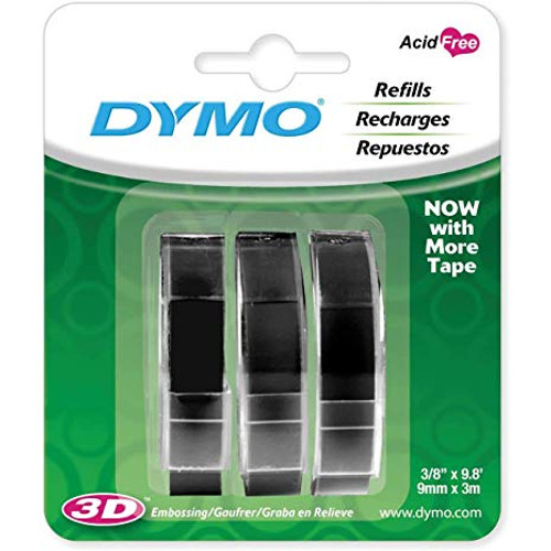 DYMO #1741670 EMBOSSING TAPE 9MMX3M BLACK 3PK