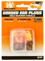 Walkers GWPEPCORD2PK Corded Foam Ear Plugs 33 dB Orange Ear Buds w/Black Cord 2 Per Pack - 888151008966
