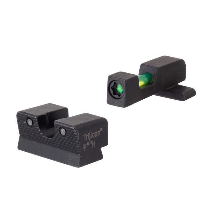 Trijicon 601112 DI Night Sight Set Sig w/#8 Front & Rear Fiber Optic Front Steel Green Green Black Frame - 719307215306