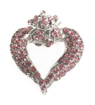 PK315 PINK CRYSTAL HEART FLOWER BROOCH
