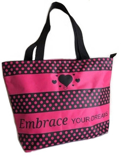 """A035 PINK DOT HAND BAG """"EMBRACE YOUR DREAMS"""""""