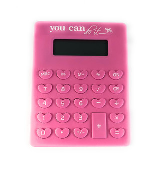P012 CALCULATOR PINK HEART You Can Do It