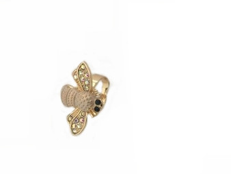 PK404C CRYSTAL WING BEE RING