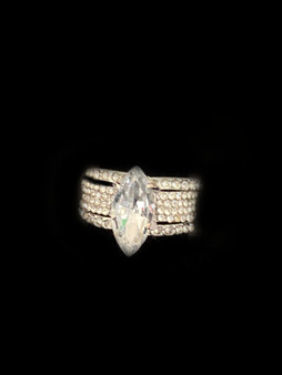 PK734-7 CRYSTAL 3 IN 1 RING SET size 7